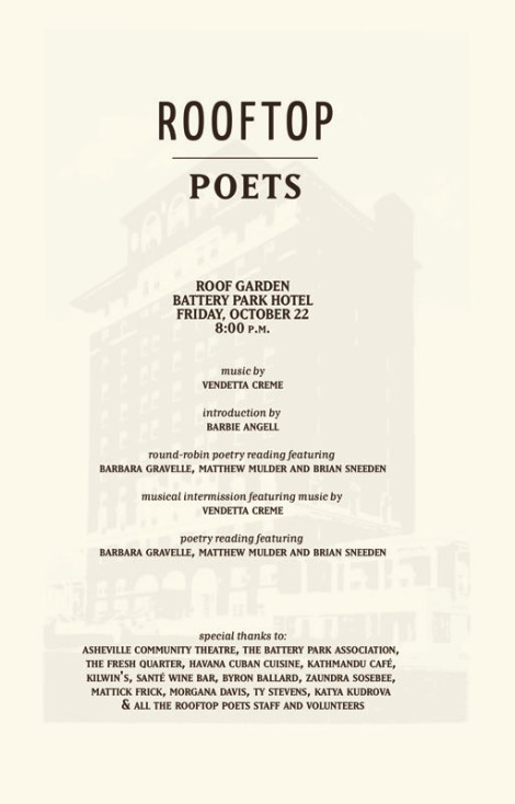 Rooftop Poets Event Program