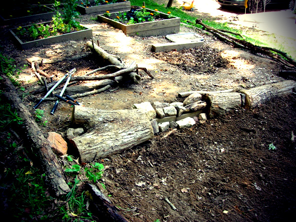 Terraced garden - using found materials