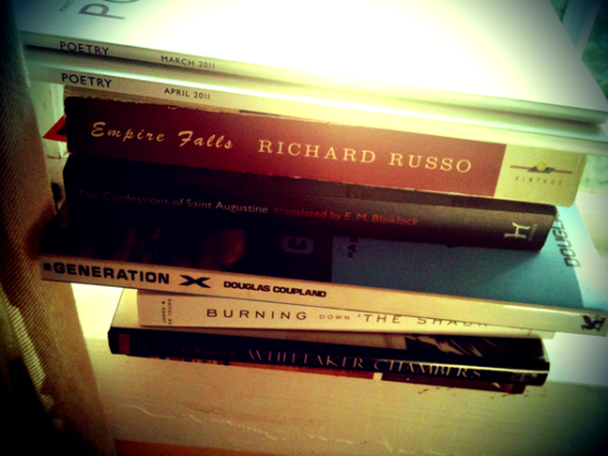 Stack of books on the window sill