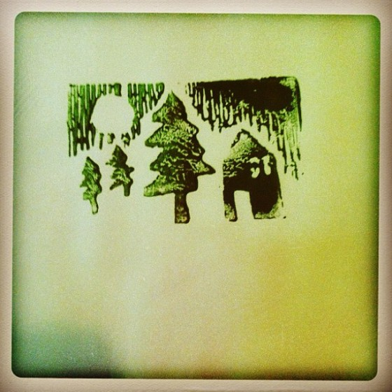 Block print Christmas card
