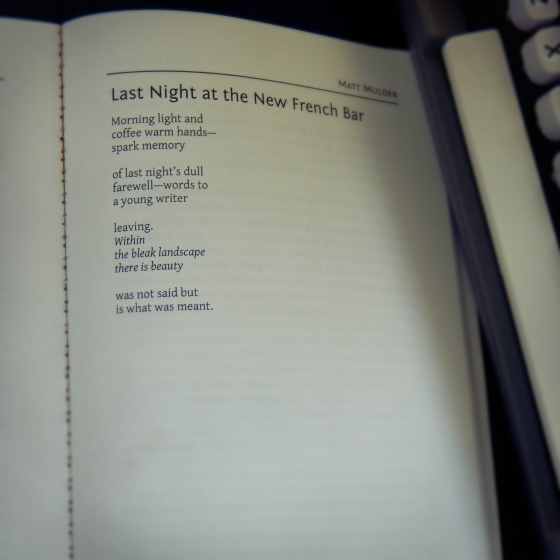Poem 4: Last night at the New French Bar